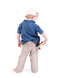 Little boy in cap with slingshot in his pocket Stock Image