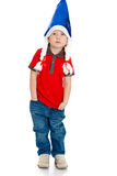 Little boy caps Santa Claus Stock Image