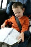 Little boy in car royalty free stock photo