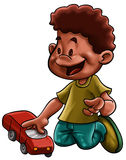 Little boy with a car Stock Image