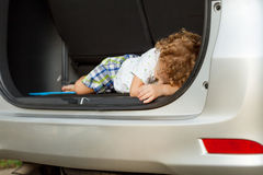 Little boy in the car Royalty Free Stock Image