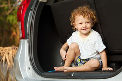 Little boy in the car Royalty Free Stock Images
