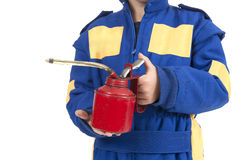 Little boy with car service oil pipette Stock Photo
