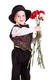 Little boy with carnations Royalty Free Stock Image