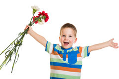 Little boy with carnations Royalty Free Stock Images