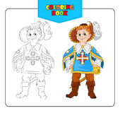 Little boy in carnival costume Musketeers. Coloring book Royalty Free Stock Photography