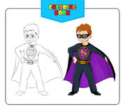 Little boy in carnival costume Superhero. Coloring book. Set of outline and colored cartoon boy in fancy dress of Superhero. Vector and raster versions Royalty Free Stock Images