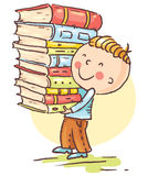 Little boy is carrying a big pile of books Stock Photos