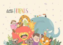 Little boy with cartoon animal. Happy friends. Vector illustration stock illustration
