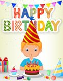 Little boy cartoon blowing birthday candle Royalty Free Stock Photography