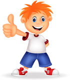 Little boy cartoon giving you thumbs up Stock Image