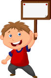 Little boy cartoon  holding blank sign Royalty Free Stock Image