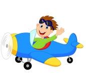 Little Boy cartoon Operating a Plane Royalty Free Stock Photo
