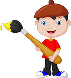 Little boy cartoon is painting with paintbrush Royalty Free Stock Image