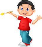 Little boy cartoon is painting with paintbrush Stock Photo