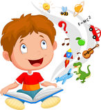 Little boy cartoon reading book education concept illustration Stock Photography