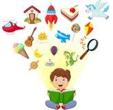 Little boy cartoon reading book education concept Stock Photos