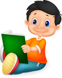 Little boy cartoon reading book Stock Images