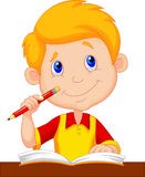 Little Boy Cartoon Studying Stock Photos