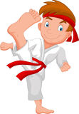 Little boy cartoon training karate Royalty Free Stock Photography