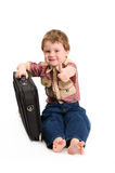 The little boy with a case Stock Images