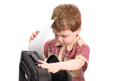 Little boy with a case on white Stock Photography