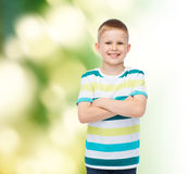 Little boy in casual clothes with arms crossed Royalty Free Stock Photo