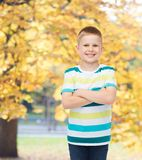 Little boy in casual clothes with arms crossed Royalty Free Stock Photos
