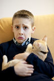 Little boy with cat Royalty Free Stock Photo
