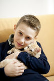 Little boy with cat Royalty Free Stock Images