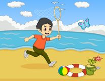Little boy catch butterfly on the beach cartoon Royalty Free Stock Photos