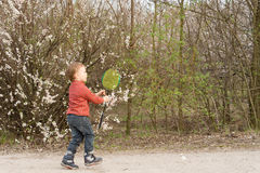 Little boy catching a frisbee Royalty Free Stock Images
