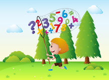 Little boy catching numbers in the park. Illustration Royalty Free Stock Images