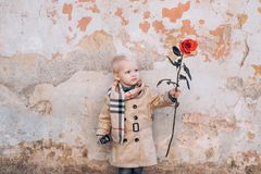 Little boy Celebrate Valentines Day. Gift, Romantic and Date. Valentines Day Cards. Saint Valentine. stock image