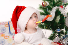 Little boy celebrates Christmas Royalty Free Stock Photo