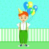 Little boy celebrates his birthday. Cute red-haired child holds a bunch of balloons. Kid in white shirt, green trousers with braces and sneakers. Blue wallpapers stock illustration