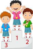 Little Boy Celebrates His Golden Medal On Podium Stock Image
