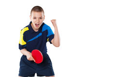 Little boy celebrating flawless victory in table tennis isolated. Portrait Of Kid celebrating flawless victory in table tennis isolated on white background stock photos