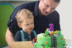 Little boy celebrating second birthday Royalty Free Stock Photography
