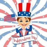 Little boy celebrating united states of america independence day Stock Photo