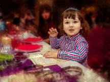 Little boy at the celebration seder passover,  jewish holiday Stock Image