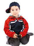 Little boy with cell phone Royalty Free Stock Photography