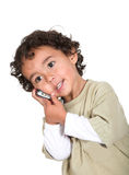 Little boy on a cellphone Royalty Free Stock Photography