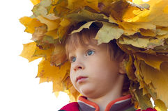Little boy with chaplet of yellow maple leaves Stock Photo