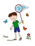 Little boy chasing butterflies. During summer vacations Stock Photography