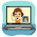 Little boy chatting with his mother via internet. Video call and chat concept. Modern communication technology. Royalty Free Stock Image