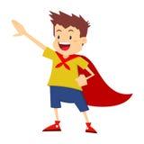 Little Boy che finge di essere eroe eccellente Immagine Stock Libera da Diritti