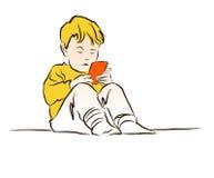 Little Boy che gioca con il cellulare Su bianco Fotografia Stock Libera da Diritti
