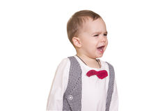 Little boy in a checkered suit and bow tie on Royalty Free Stock Photos