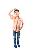 Little boy checkin his height growth on white background Stock Photos